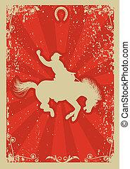 rodeo, cowboy.wild, pferd, race.vector, grafik, plakat, mit, grunge, hintergrund
