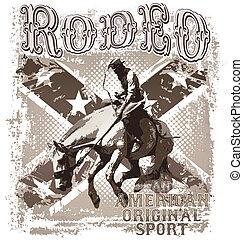 rodeo, deporte, norteamericano, original
