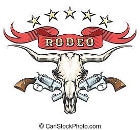 rodeo, emblemat, rewolwery, czaszka, byk