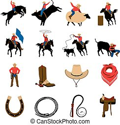 Rodeo Flat Color Icons - Rodeo flat color icons with rodeo...