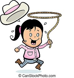 Rodeo Girl - A happy cartoon girl with a lasso.