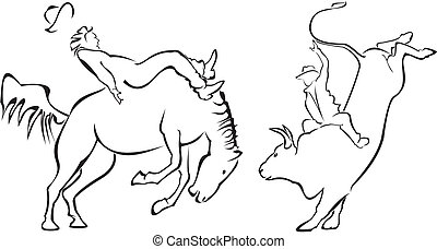 rodeo, -, häst, tjur