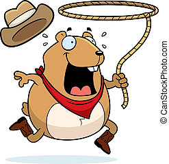Rodeo Hamster - A happy cartoon rodeo hamster with a lasso.