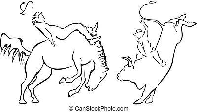 Rodeo - horse and bull - Bull riding, ride on horseback,...