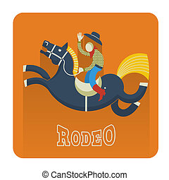 Rodeo icon.Cowboy on horse