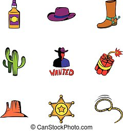 Rodeo icons set, cartoon style