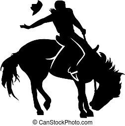 rodeo, jeżdżenie, sylwetka