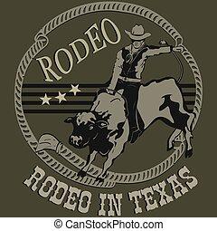 rodeo, kowboj, jeżdżenie, niejaki, dziki, byk, sylwetka