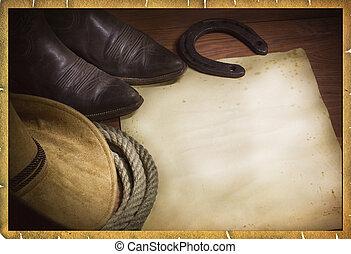 rodeo, kowboj, tło, z, zachodni kapelusz, i, lasso