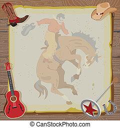rodeo, occidental, invitación, vaquero