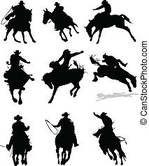 rodeo, paarde, silhouettes., il, vector