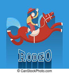 rodeo, poster.cowboy, caballo