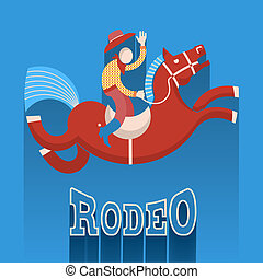 Rodeo poster.Cowboy on horse