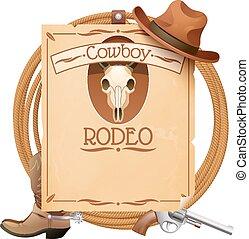 rodeo, retro, plakat