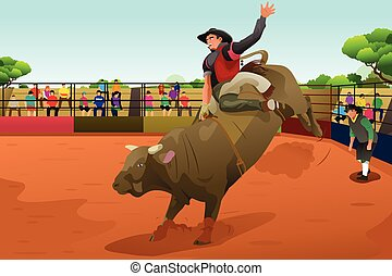 A vector illustration of rodeo rider in an arena