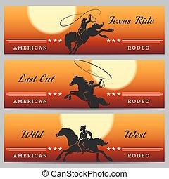 rodeo, set, bandiera, cowboy