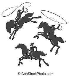 rodeo, set, emblema, cowboy