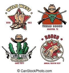 rodeo, set, emblema, retro, cowboy