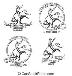 rodeo, set, emblema