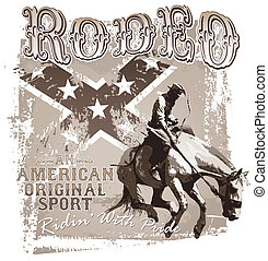 rodeo, sport, americano, originale