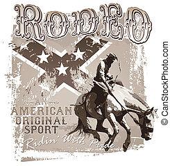 rodeo, sport, amerykanka, oryginał
