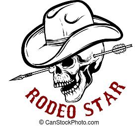 Rodeo star. Skull with arrow in head. Design element for poster, card, t shirt, emblem, sign.