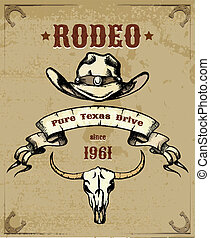 Rodeo Themed Graphic with Cowboy Hat and Skull - Rodeo...
