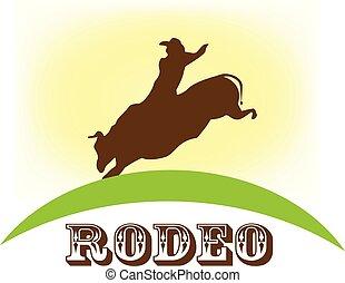 rodeo, tonen, het berijden van de stier, vector, symbool