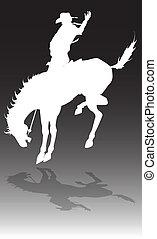 rodeo, vaquero, en, caballo, ilustración