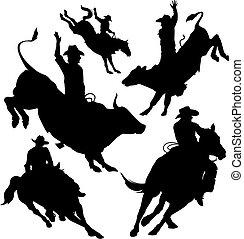 rodeo, vettore, set
