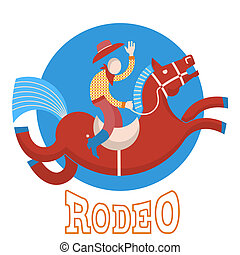 Rodeo.Cowboy on horse - Rodeo symbol.Cowboy on horse flat...