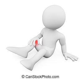 rodilla, hombre, personas., dolor, 3d, blanco