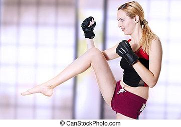 rodilla, mujer, luchador, kick.