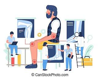 rodilla, oficina, sufrimiento, tobillo, dolor, paciente, plano, coyuntura, arthritis., visitar, vector, doctor, illustration., codo