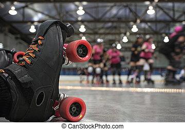rodillo, derby, patinador, otoño