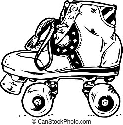 rodillo, ilustración, botas, retro