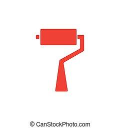 rodillo, plano, illustration., rojo blanco, cepillo, icono, fondo., estilo, vector