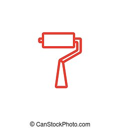 rodillo, plano, illustration., rojo blanco, cepillo, icono, fondo., línea, estilo, vector