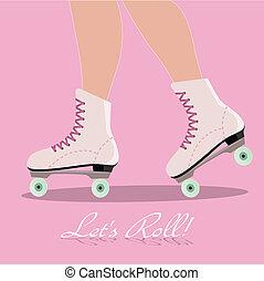 rodillo, tarjeta, invitación, patines