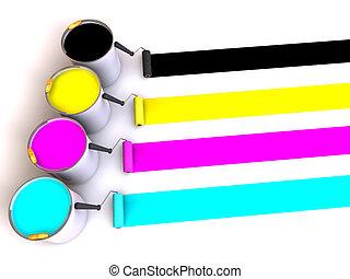 rodillos, cubos, paint., cepillo, 3d