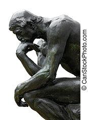 Rodin Thinker on white - Rodin Thinker isolated on white,...