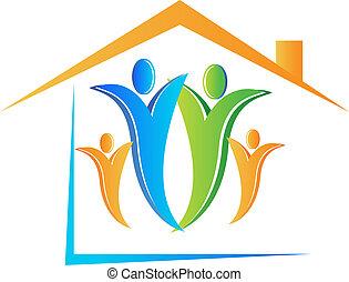 rodina, a, ubytovat se, emblém, vektor