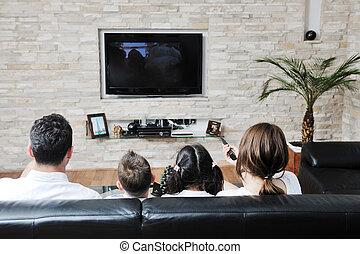 rodina, dívaní, byt, televize, v, moderní, domů, domovní