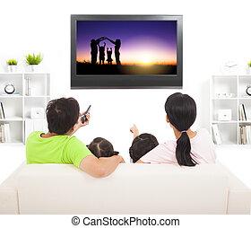 rodina, dívaní, ta, televize, do, obývací pokoj celodenní