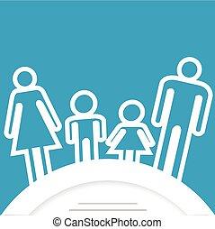 rodina, ikona, s, bydliště, jako, text