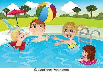 rodina, kaluž, plavání