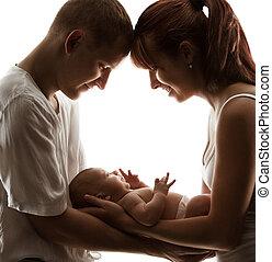 rodina, matka, otec, novorozeně, narozený, rodiče, dítě, děťátko, právě mrně