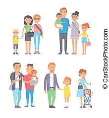 rodina, národ, vektor, set.