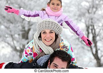 rodina, obout si, zima, venku, žert, studený, den