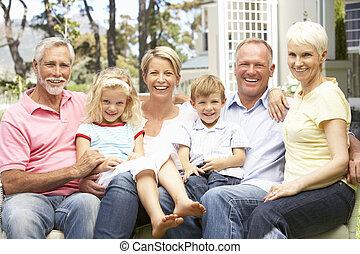 rodina, prodloužený, zahrada, povolit